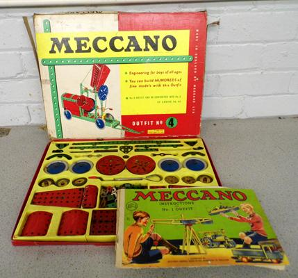 Meccano 1950's  No.4 set in red & green box + manual