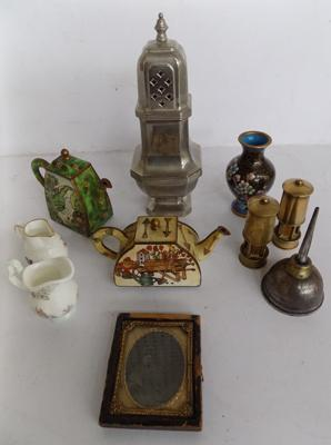 Box of collectables, incl. Cloissoinne, miners lamp etc...