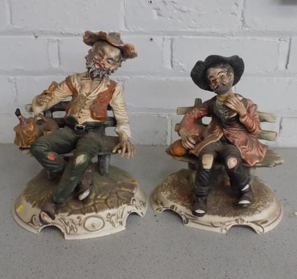 Two large Capodimonte ornaments - with base stamps & mark