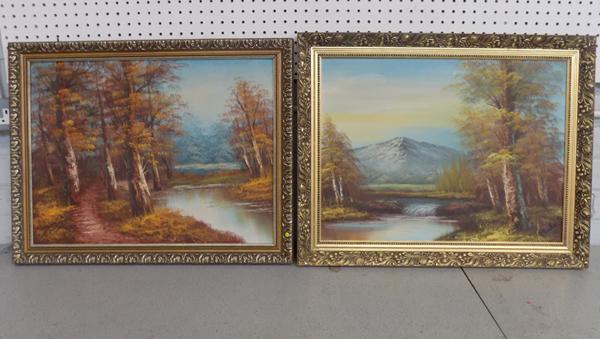 Two gilt framed oil paintings signed by artist - 26 inches x 21 inches