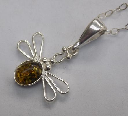 Silver & amber necklace