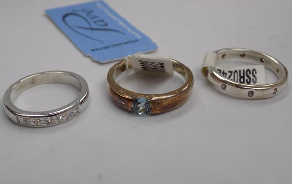 3 x 925 silver rings