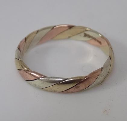 Yellow/white/rose 9ct gold twisted band size L1/2