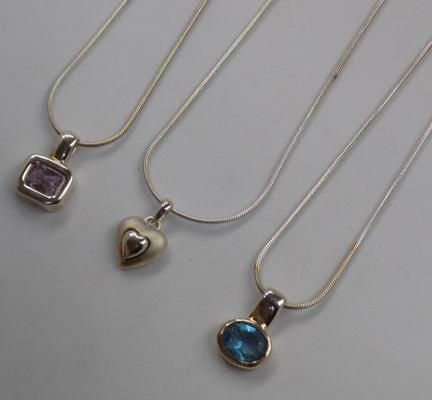 3 x 925 silver necklaces - mixed