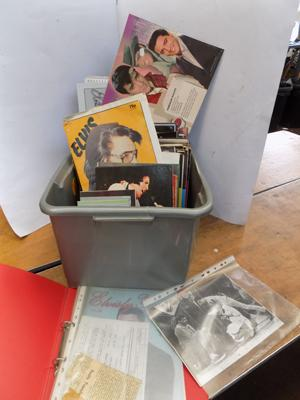 Mixed box of collectables, incl. Elvis, CDs & books