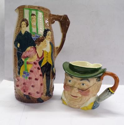 Staffordshire Toby jug 'Mr Pickwick' + Burleighware 'Sally in our Alley' pouring jug
