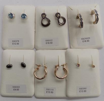 6 x pairs of 925 silver earrings