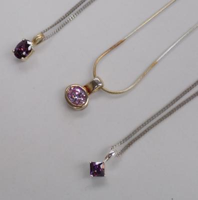 3 x 925 silver necklaces - purples & pinks