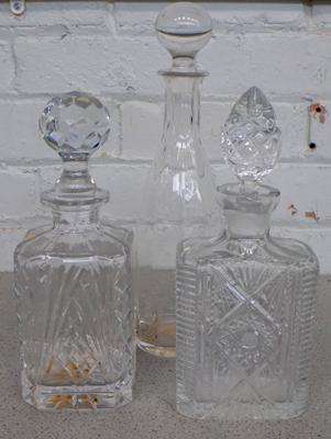 Three cut glass vintage wine decanters