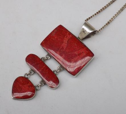 Large Red Stone modernist pendant on silver chain