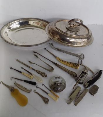 Selection of silver plate, button hooks etc...