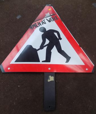 Large 'Men at Work' sign, novelty, approx. 1 metre