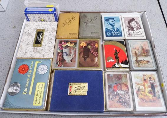 Selection of 18 full packs of vintage playing cards