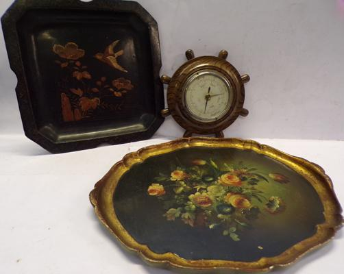 Two papier mache trays + barometer