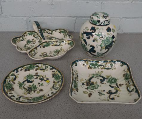 Masons ware Chartreuse pattern, four pieces, no damage