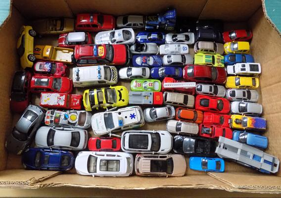 Box of diecast cars - large quantity (over 60)