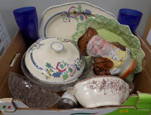 Box of pottery inc Meakin, crystal bowl etc