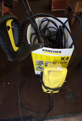 Selection of Karcher accessories and Karcher pressure washer