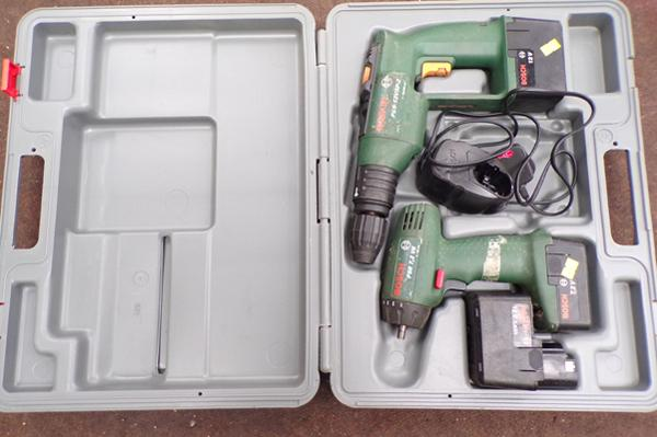 Bosch drill + 1 other, plus three batteries
