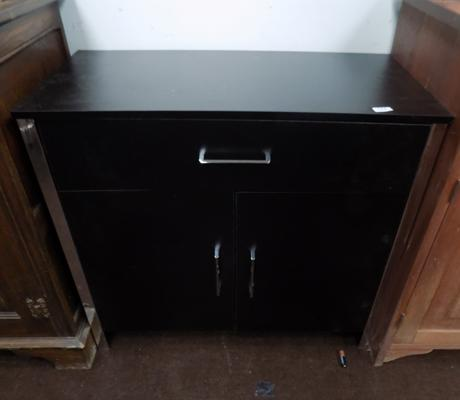 Two door, one drawer sideboard - black & chrome