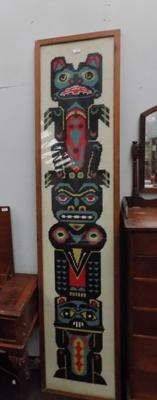 Totem pole tapestry, over 6 feet tall