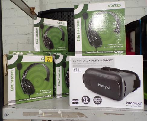 4x Xbox 360 headsets and VR headset