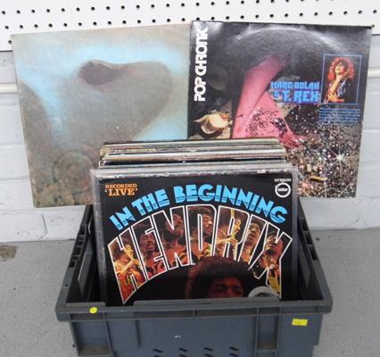 Box of LP records, incl Hendrix, Pink Floyd, Deep Purple, Bowie, T-Rex etc...