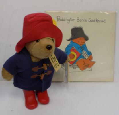 Large Paddington bear with tags + gold record (1984)