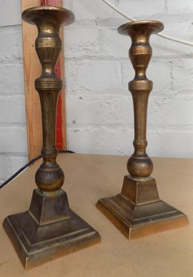 Pair of antique candlesticks - approx. 9 inches