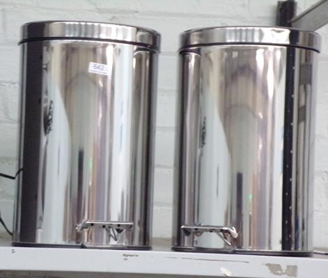 2 new stainless steel peddle bins