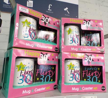 8 new happy 30th cup and coaster sets