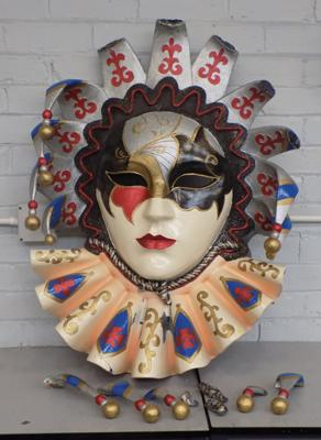 Extra large vintage fairground/amusement masquerade jester - some parts need re-attaching, 27 x 37 inches