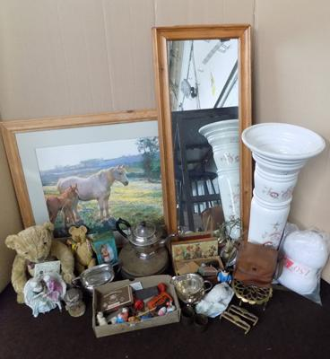 Box of antique - vintage collectables, Jardiniere and paintings
