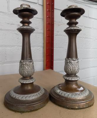 Pair of antique candlesticks - approx. 10 inches