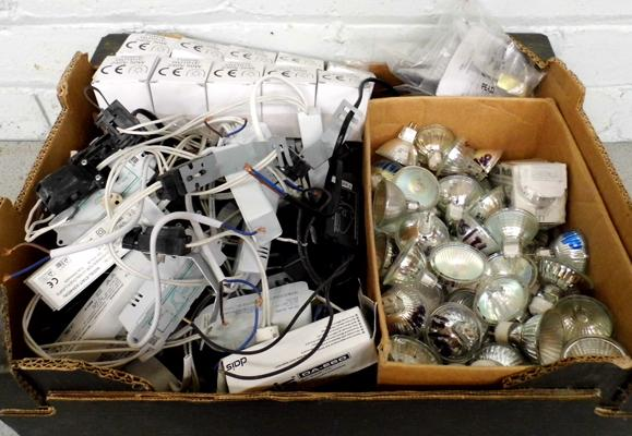 Box of down lights, transformers, fittings etc. - as new