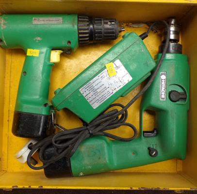 Two Hitachi cordless drills, batteries + charger in metal case (as seen)