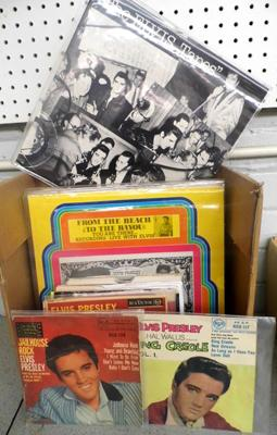 Box of Rock n Roll records incl. rare Elvis, Little Richard, Bill Haley etc.