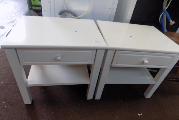 Pair of white bedside drawers