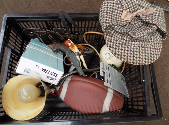 Large selection of collectables incl. angle poise lamp, NFL football