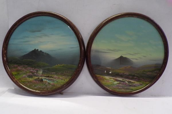 Two round framed paintings by Furness Wilson - approx. 10 inches