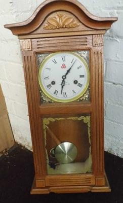 31 Day chime cased clock with key, pendulum & instructions