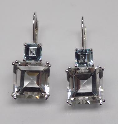 Pair of 10ct white gold stone set earrings