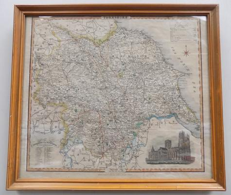 Antique Georgian map of Yorkshire, circa 1830 - 16.5 x 14.5 inches