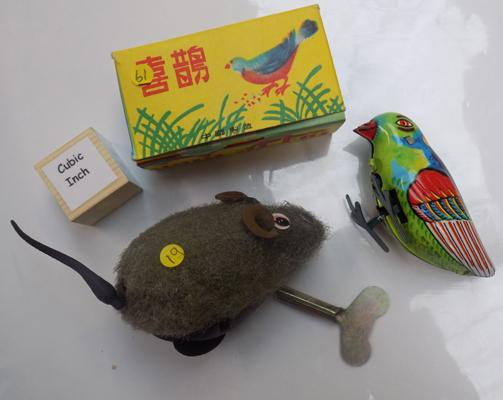 2 clockwork toys - 1 tin plate blue bird and wind up mouse