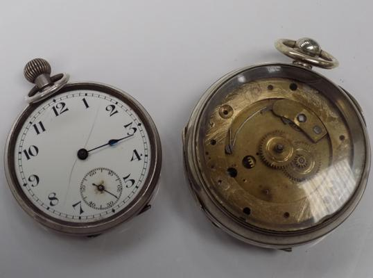Silver pocket watch and one other pocket watch