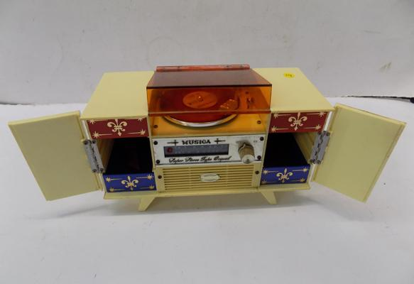 Mid Century vintage Japanese record player musical jewellery box