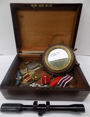 Collection of militaria inc scope, badges & medals