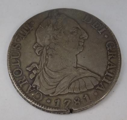 Spanish silver 8 Reales coin, 1781, MM Mexico