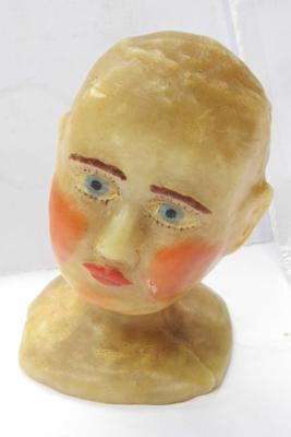 "Antique wax work head. Approx 6"" tall"