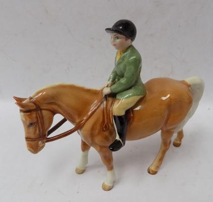 "Beswick boy on pony Palomino, issued 1957 - 1976. Approx 6"" tall, no damage"